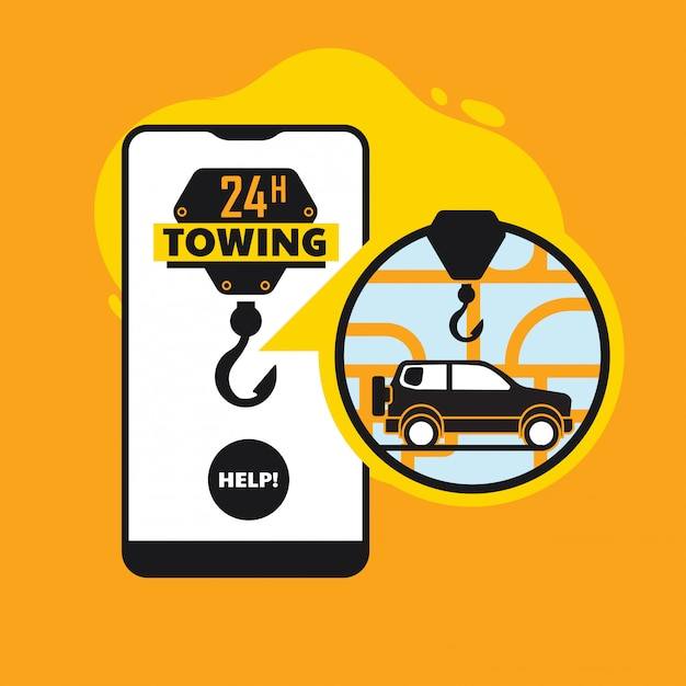 Assistência na estrada on-line, conceito de app móvel de serviço de reboque de carro Vetor Premium