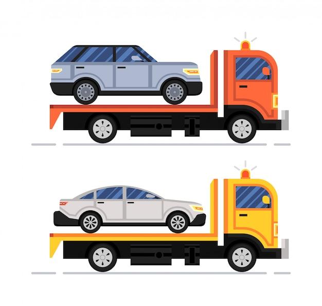 Assistência rodoviária. evacuador de carro. conjunto Vetor Premium