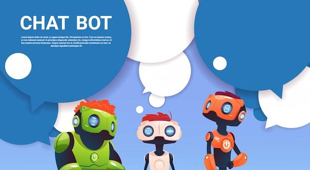 Assistência virtual do robô do bot do bate-papo do web site ou de aplicações móveis, conceito da inteligência artificial Vetor Premium