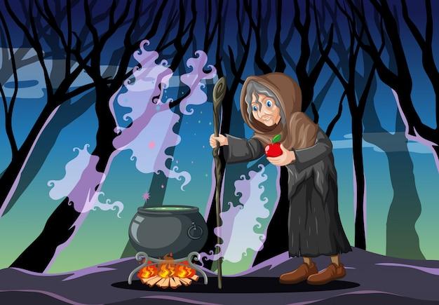 Assistente com estilo de desenho animado pote de magia negra em fundo escuro da floresta Vetor grátis