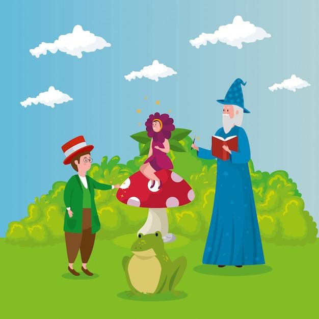 Assistente com homem e mulher disfarçada flor no conto de fadas de cena Vetor grátis