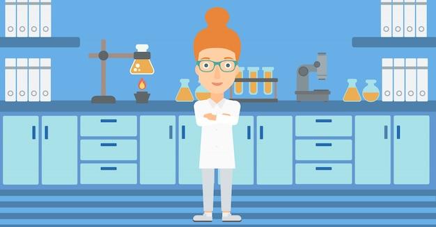 Assistente de laboratório feminino. Vetor Premium