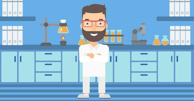 Assistente de laboratório masculino. Vetor Premium