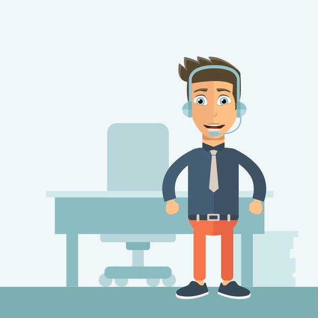 Assistente de suporte ao cliente no escritório Vetor Premium