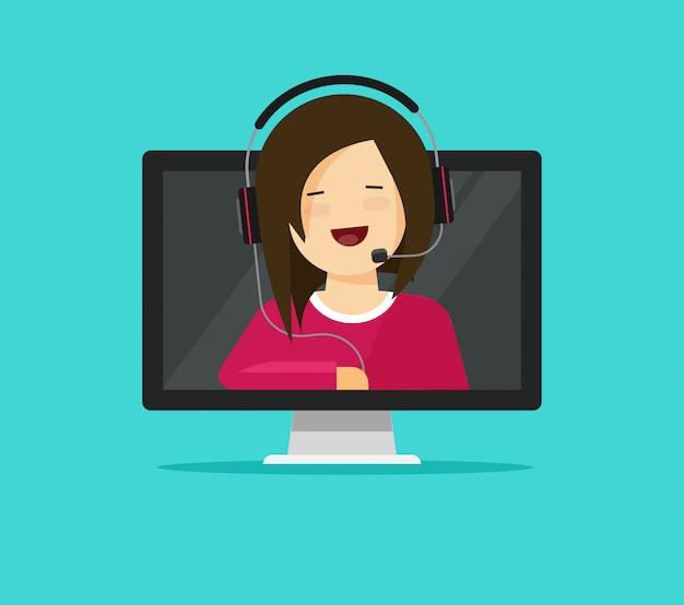 Assistente de suporte on-line ou consultor Vetor Premium