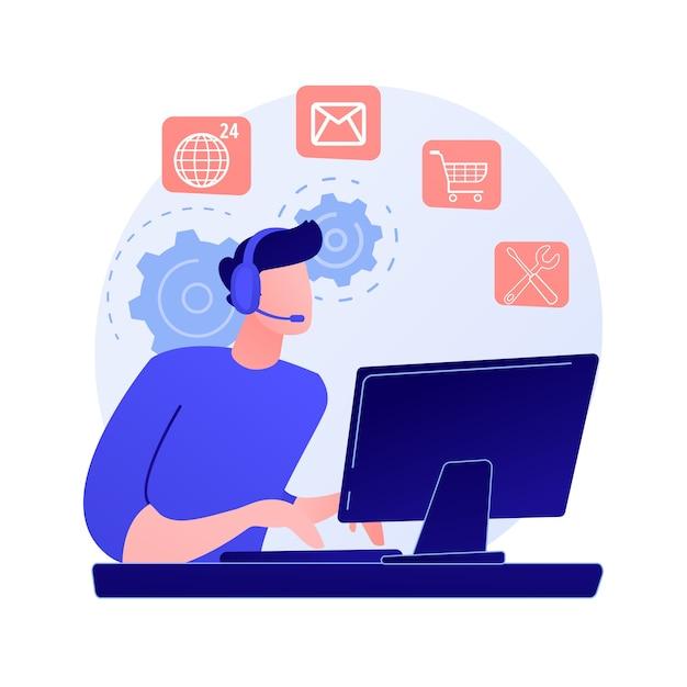 Assistente online, ajuda ao usuário, perguntas frequentes. personagem de desenho animado do trabalhador do call center. mulher que trabalha na linha direta. Vetor grátis