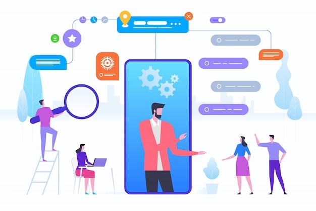 Assistente online para smartphone Vetor Premium