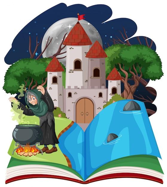 Assistente ou bruxa e torre do castelo em pop-up estilo cartoon de livro sobre fundo branco Vetor grátis