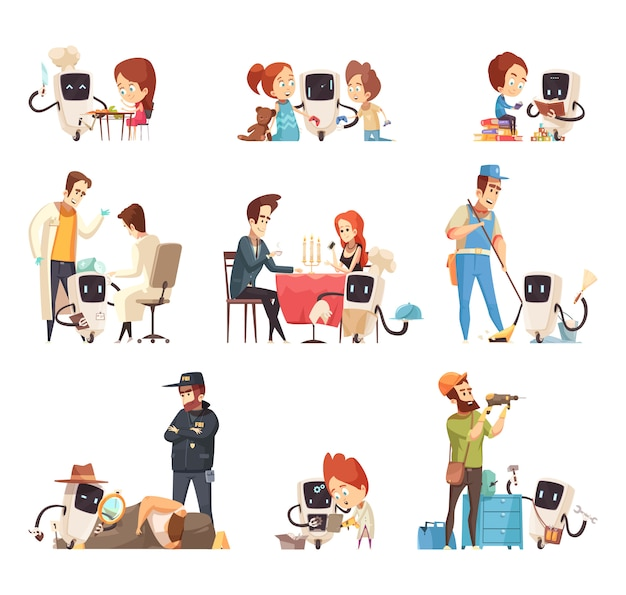 Assistentes de robôs dos desenhos animados conjunto de ícones Vetor grátis