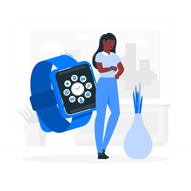 Assistir a ilustração do conceito de aplicativo Vetor grátis