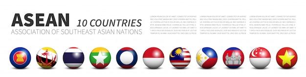 Associação das bandeiras das nações do sudeste asiático nas esferas tridimensionais Vetor Premium