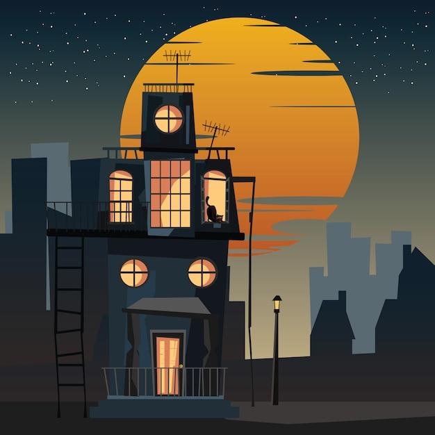 Assustador alojado e gato à noite vector illustration Vetor Premium