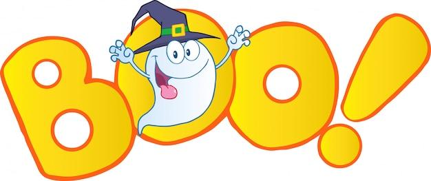 Assustando fantasma vestindo um chapéu de bruxa na palavra boo Vetor Premium