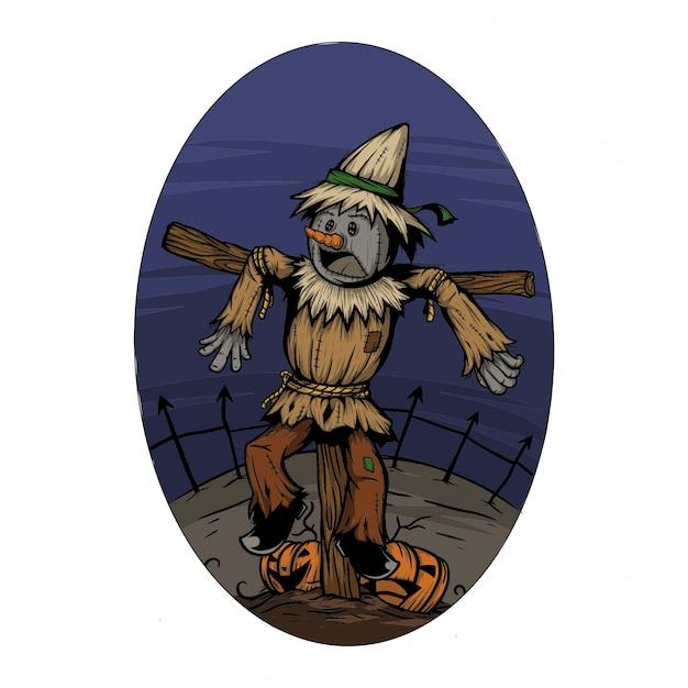 Assustar o corvo em um campo quando a noite de halloween assusta por algo Vetor Premium