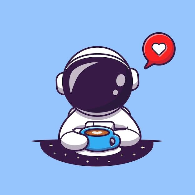 Astronauta bonito bebendo café ilustração vetorial ícone dos desenhos animados. ícone de comida e bebida científica Vetor grátis