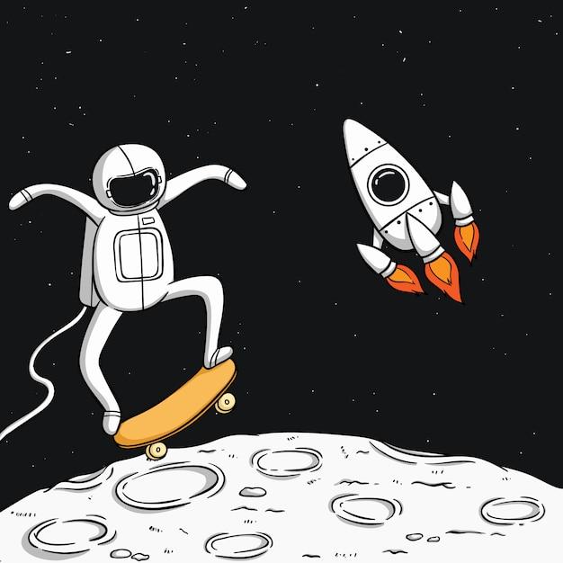 Astronauta bonito jogar skate na lua com foguete espacial Vetor Premium