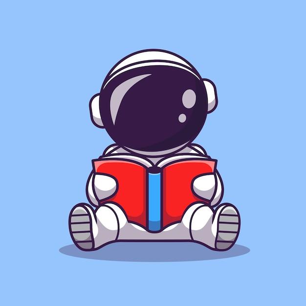 Astronauta bonito lendo livro cartoon icon ilustração vetorial. ícone de educação espacial Vetor Premium