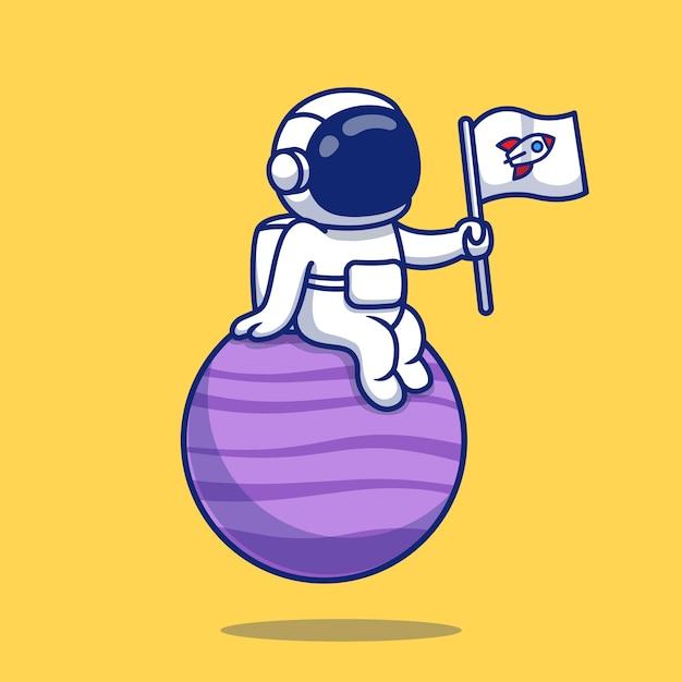 Astronauta bonito sentado no planeta segurando a ilustração dos desenhos animados da bandeira. conceito de ícone de espaço Vetor Premium