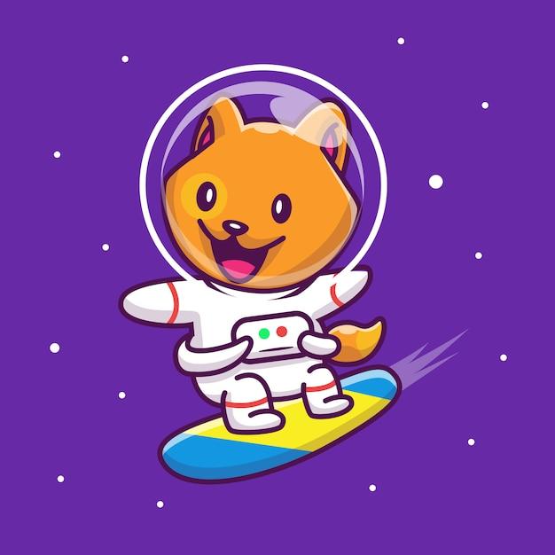 Astronauta cat surfing on galaxy icon ilustração. personagem de desenho animado da mascote. conceito de ícone animal isolado Vetor Premium