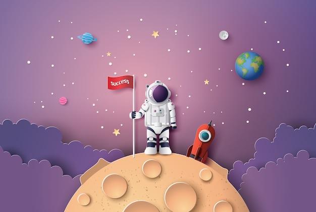 Astronauta com bandeira na lua, Vetor Premium