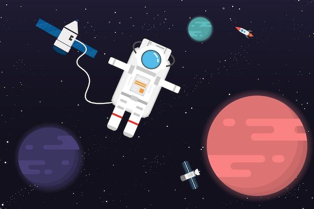 Astronauta com design.vector de planeta e ilustração Vetor Premium