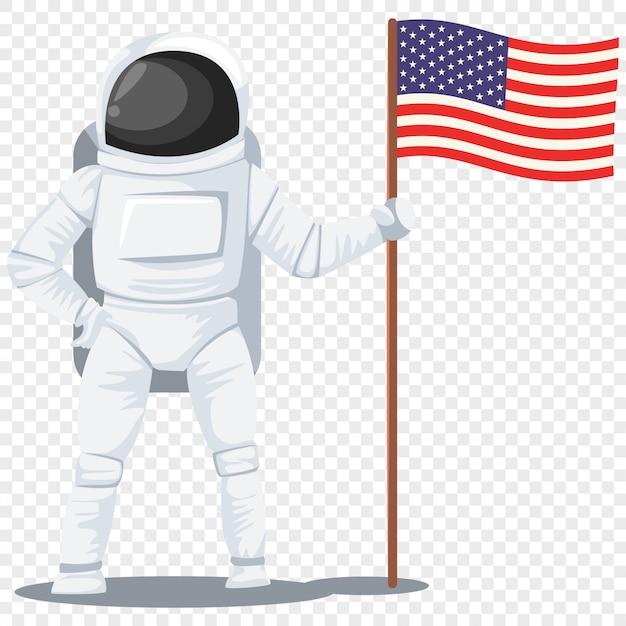 Astronauta com um personagem de desenho animado de bandeira americana isolado transparente Vetor Premium
