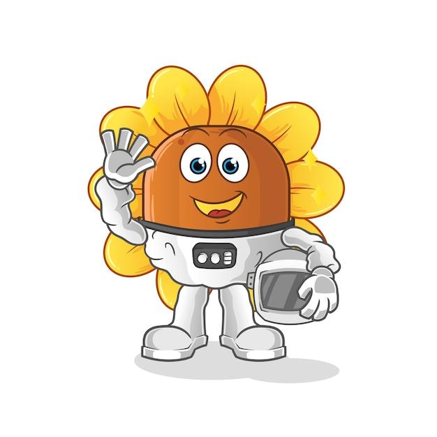 Astronauta da flor do sol acenando Vetor Premium