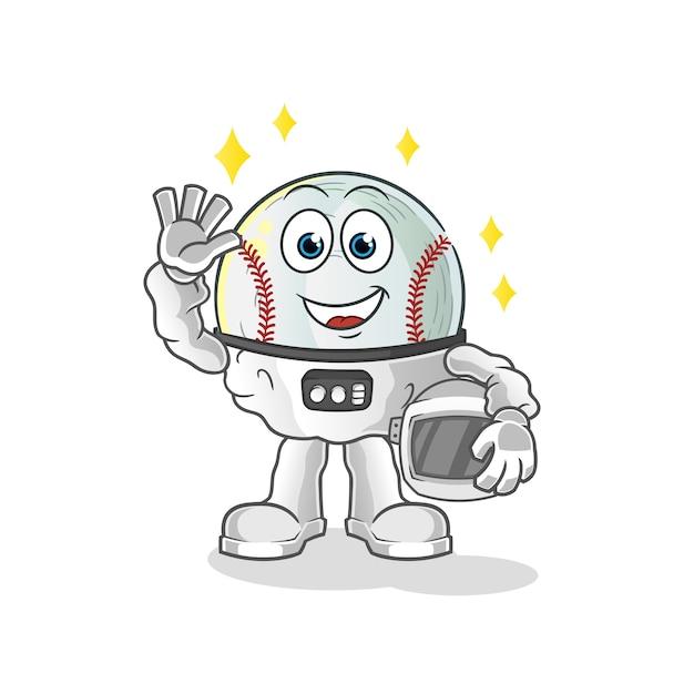 Astronauta de beisebol acenando com ilustração de personagem Vetor Premium