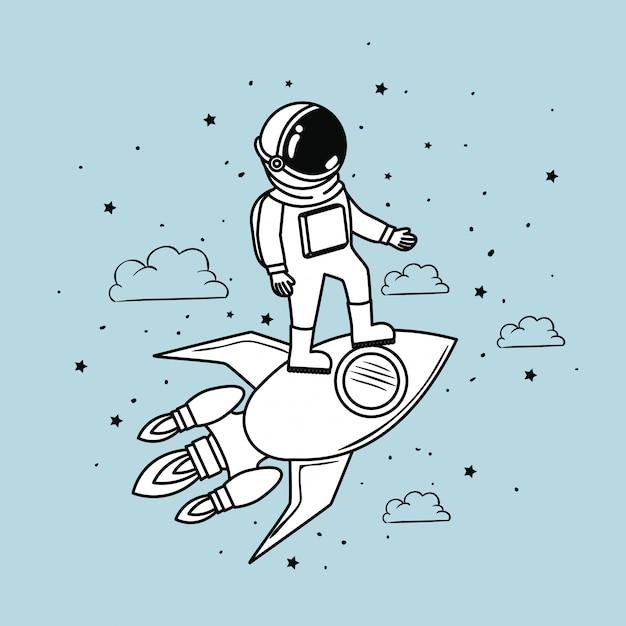 Astronauta de foguete e estrelas Vetor grátis