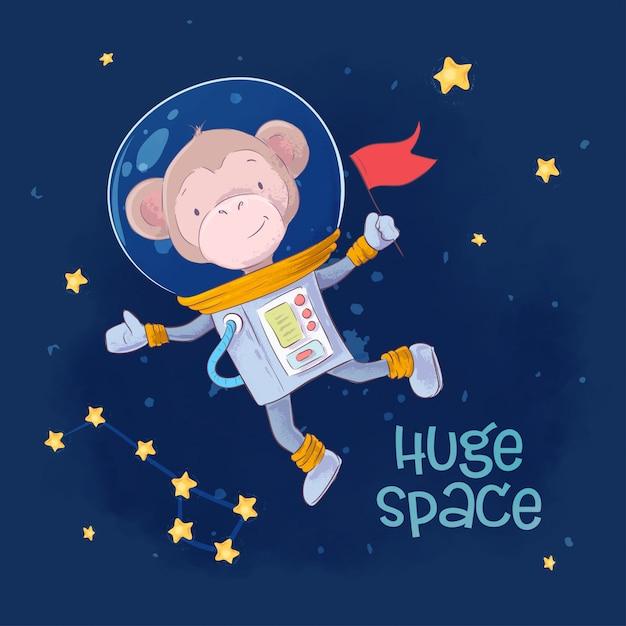 Astronauta de macaco bonito de ilustração infantil no espaço com as constelações e estrelas Vetor Premium