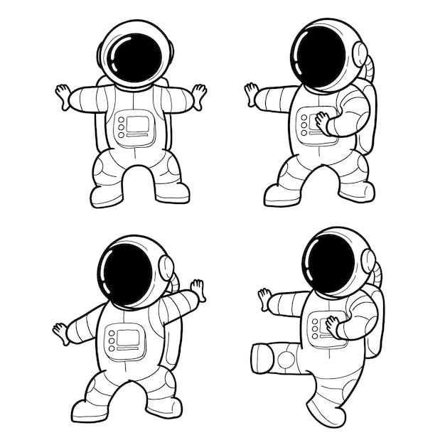 Astronauta desenhada de giro de mão Vetor Premium