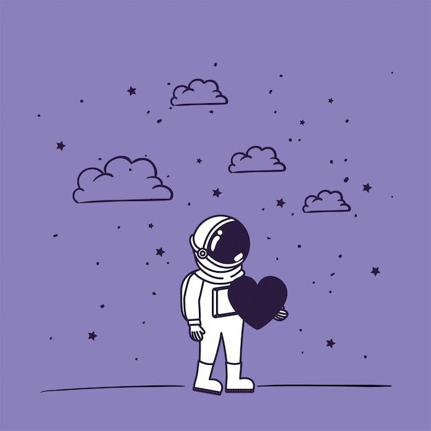Astronauta desenhar com coração Vetor grátis