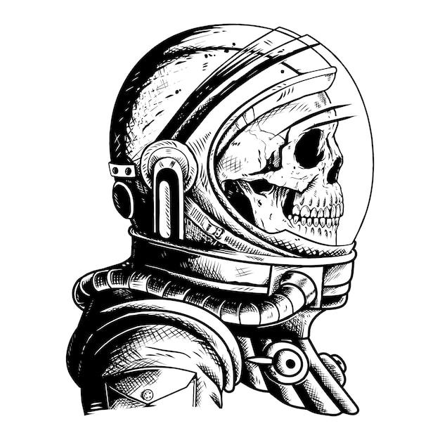 Astronauta do crânio Vetor Premium