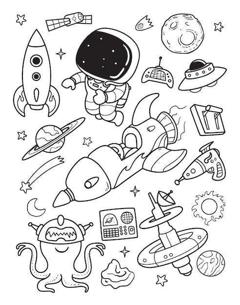 Astronauta e alienígena doodle na hora do espaço Vetor Premium