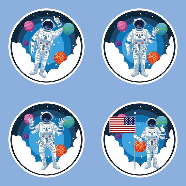 Astronauta e galáxia conjunto de cenários Vetor Premium