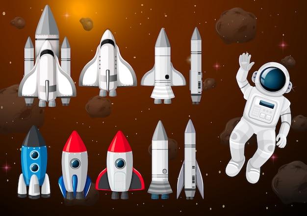 Astronauta em cena espacial Vetor grátis