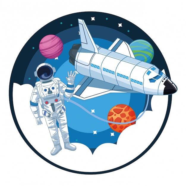 Astronauta em desenhos animados de exploração espacial Vetor Premium