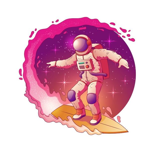 Astronauta em pé de traje espacial na prancha de surf e surf em estrelas da via láctea Vetor grátis