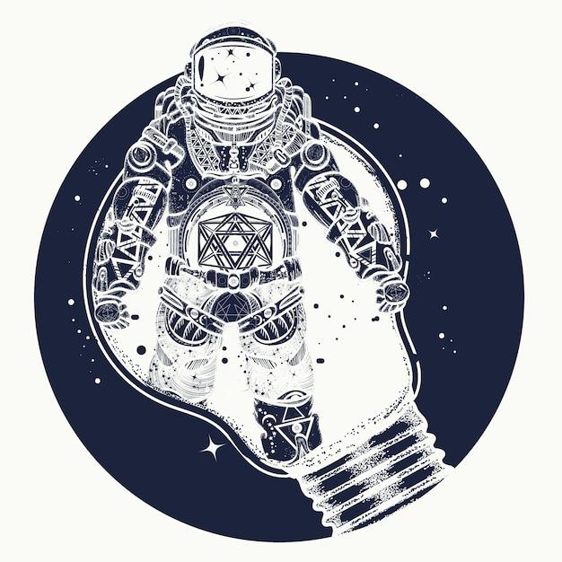 Astronauta em uma tatuagem de lâmpada Vetor Premium