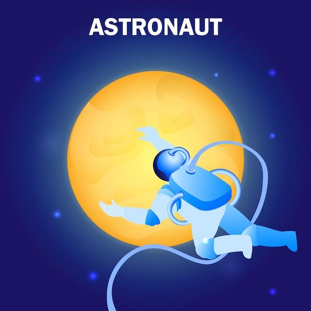 Astronauta flutuando no espaço ilustração plana Vetor Premium