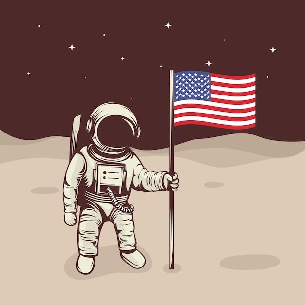 Astronauta levantar a bandeira na lua Vetor Premium
