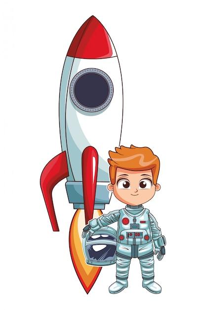 Astronauta, levantar, menino Vetor Premium