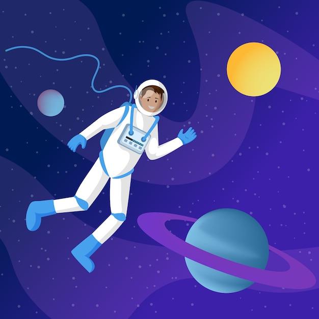 Astronauta masculina no espaço sideral Vetor Premium