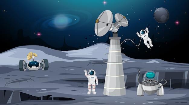 Astronauta na cena do espaço Vetor grátis