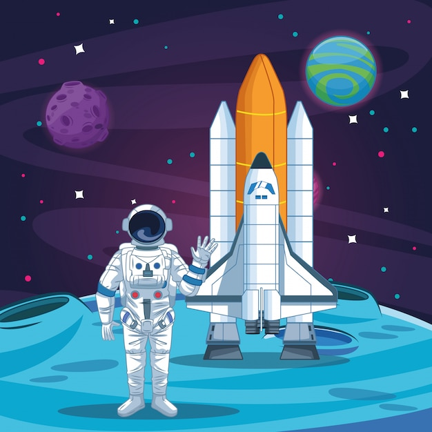 Astronauta no desenho da galáxia Vetor Premium