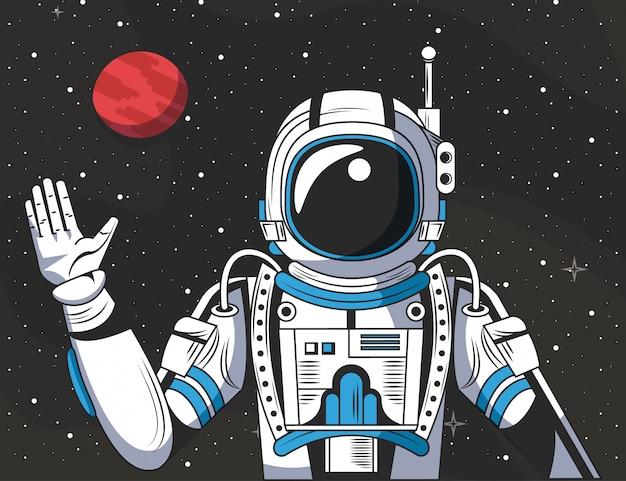 Astronauta no desenho do espaço Vetor grátis