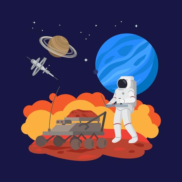 Astronauta no espaço, experimentos de solo Vetor Premium