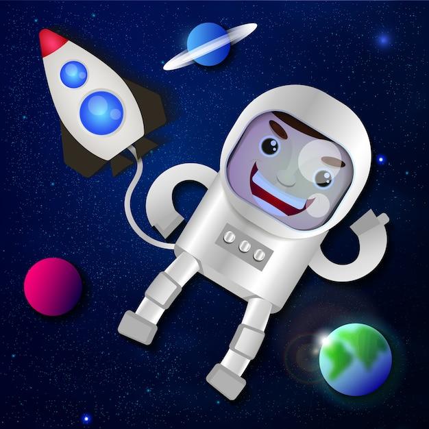 Astronauta no espaço sideral Vetor Premium