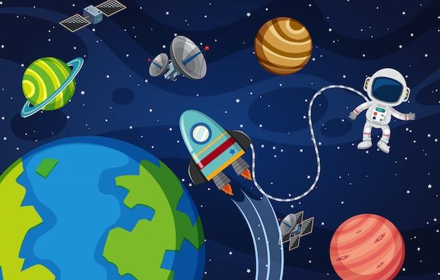 Astronauta no espaço thr Vetor Premium