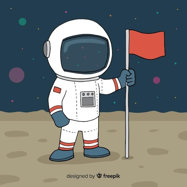 Astronauta no fundo da lua Vetor grátis